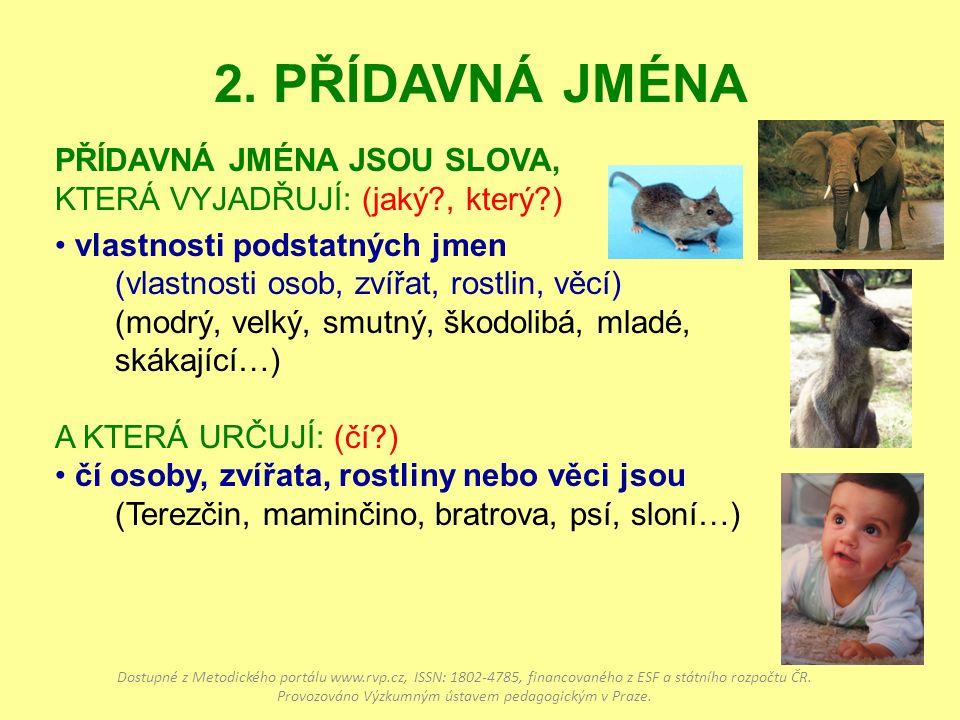 2. PŘÍDAVNÁ JMÉNA PŘÍDAVNÁ JMÉNA JSOU SLOVA, KTERÁ VYJADŘUJÍ: (jaký?, který?) vlastnosti podstatných jmen (vlastnosti osob, zvířat, rostlin, věcí) (mo