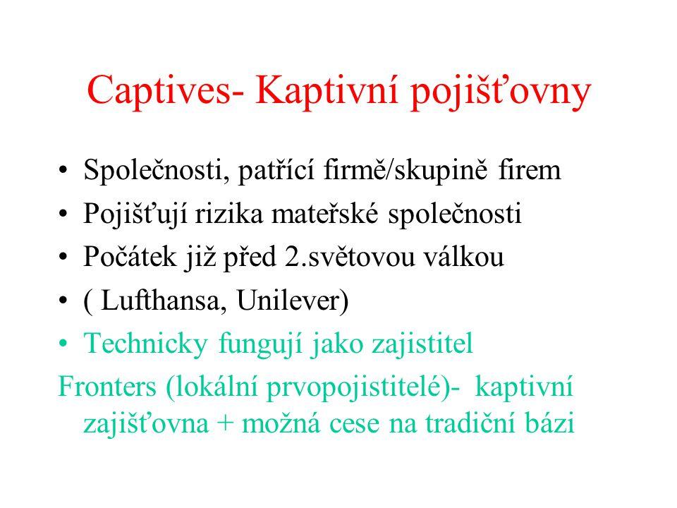 Captives- Kaptivní pojišťovny Společnosti, patřící firmě/skupině firem Pojišťují rizika mateřské společnosti Počátek již před 2.světovou válkou ( Luft