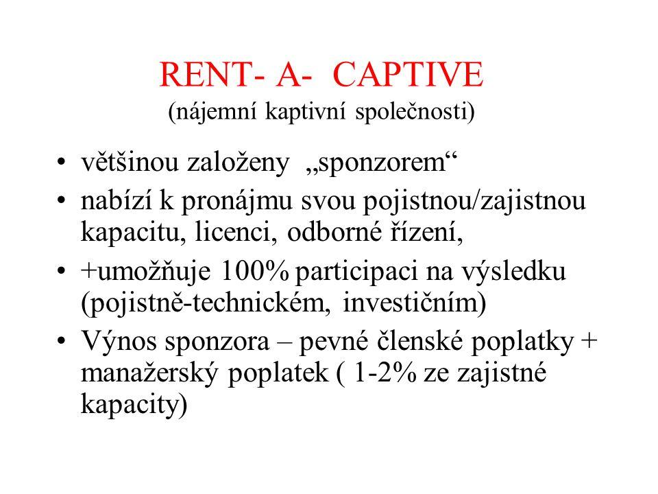 """RENT- A- CAPTIVE (nájemní kaptivní společnosti) většinou založeny """"sponzorem"""" nabízí k pronájmu svou pojistnou/zajistnou kapacitu, licenci, odborné ří"""