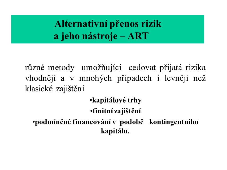 Alternativní přenos rizik a jeho nástroje – ART různé metody umožňující cedovat přijatá rizika vhodněji a v mnohých případech i levněji než klasické z
