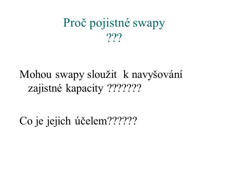 Proč pojistné swapy ??? Mohou swapy sloužit k navyšování zajistné kapacity ??????? Co je jejich účelem??????