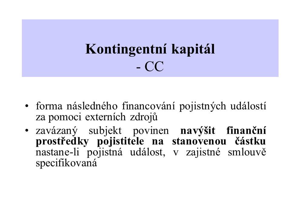 Kontingentní kapitál - CC forma následného financování pojistných událostí za pomoci externích zdrojů zavázaný subjekt povinen navýšit finanční prostř