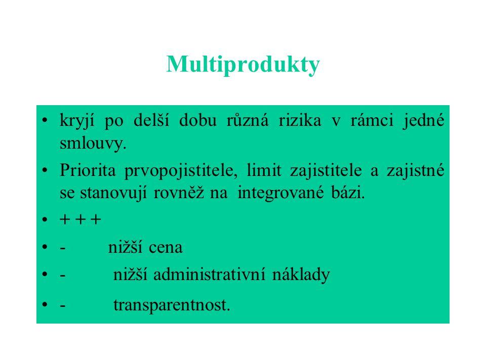 Multiprodukty kryjí po delší dobu různá rizika v rámci jedné smlouvy. Priorita prvopojistitele, limit zajistitele a zajistné se stanovují rovněž na in