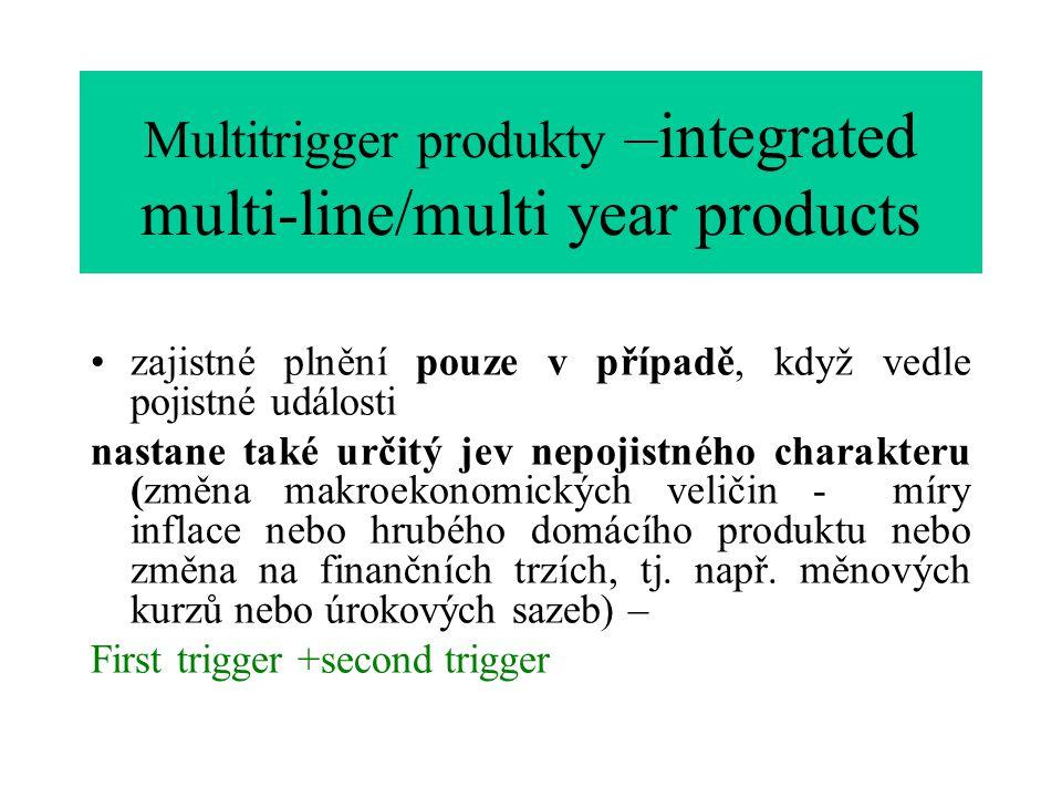 Multitrigger produkty –integrated multi-line/multi year products zajistné plnění pouze v případě, když vedle pojistné události nastane také určitý jev