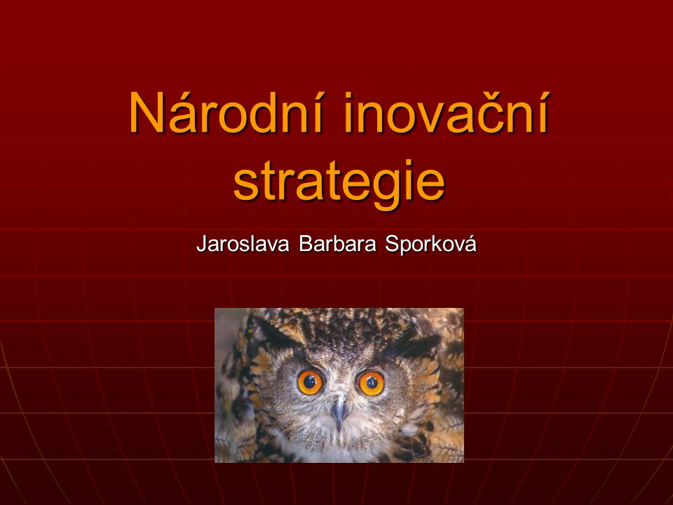 Národní inovační strategie Jaroslava Barbara Sporková