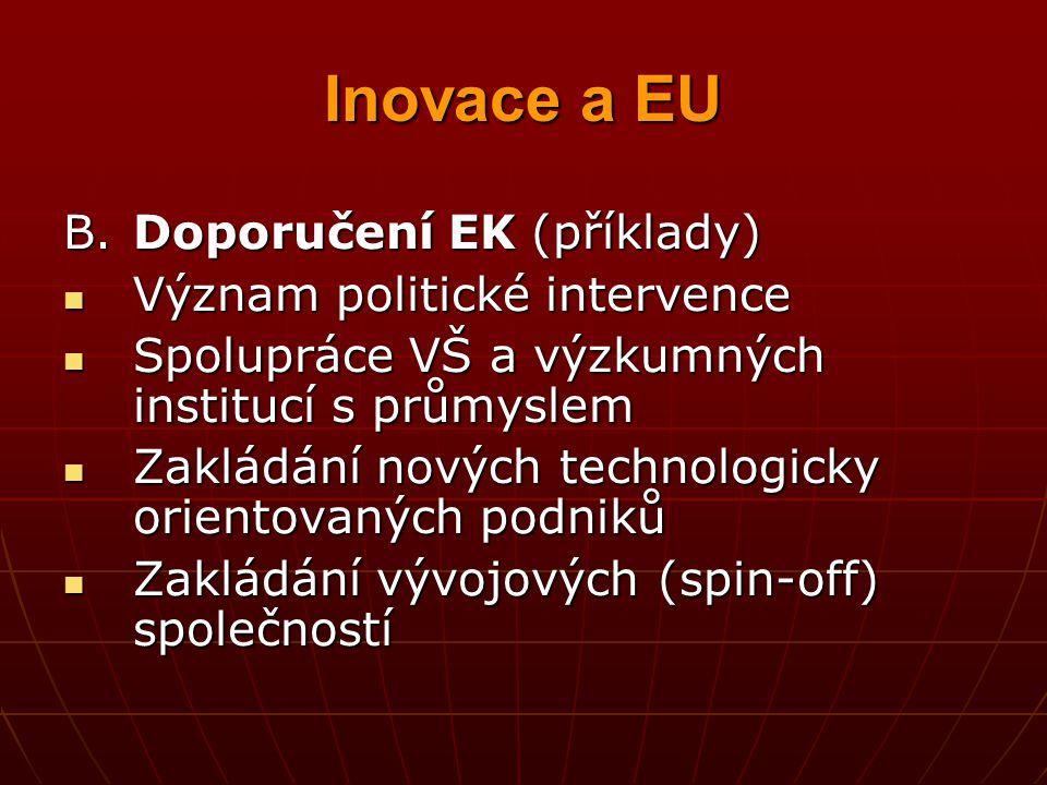 Inovace a EU B.Doporučení EK (příklady) Význam politické intervence Význam politické intervence Spolupráce VŠ a výzkumných institucí s průmyslem Spolu