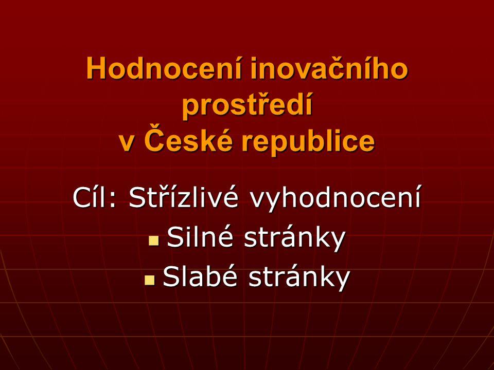 Hodnocení inovačního prostředí v České republice Cíl: Střízlivé vyhodnocení Silné stránky Silné stránky Slabé stránky Slabé stránky