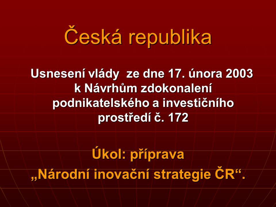 Česká republika Usnesení vlády ze dne 17. února 2003 k Návrhům zdokonalení podnikatelského a investičního prostředí č. 172 Usnesení vlády ze dne 17. ú