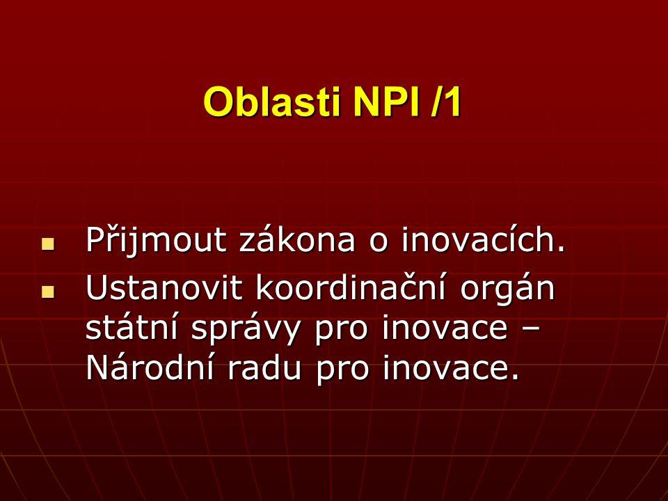 Oblasti NPI /1 Přijmout zákona o inovacích. Přijmout zákona o inovacích. Ustanovit koordinační orgán státní správy pro inovace – Národní radu pro inov
