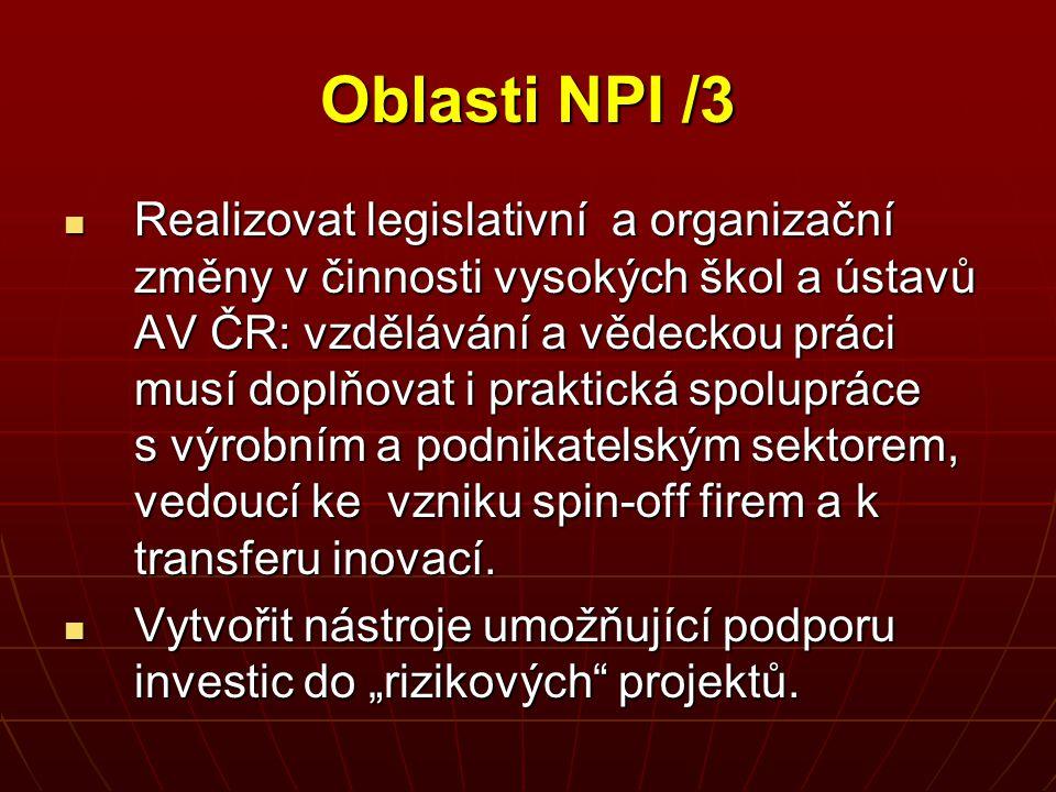Oblasti NPI /3 Realizovat legislativní a organizační změny v činnosti vysokých škol a ústavů AV ČR: vzdělávání a vědeckou práci musí doplňovat i prakt