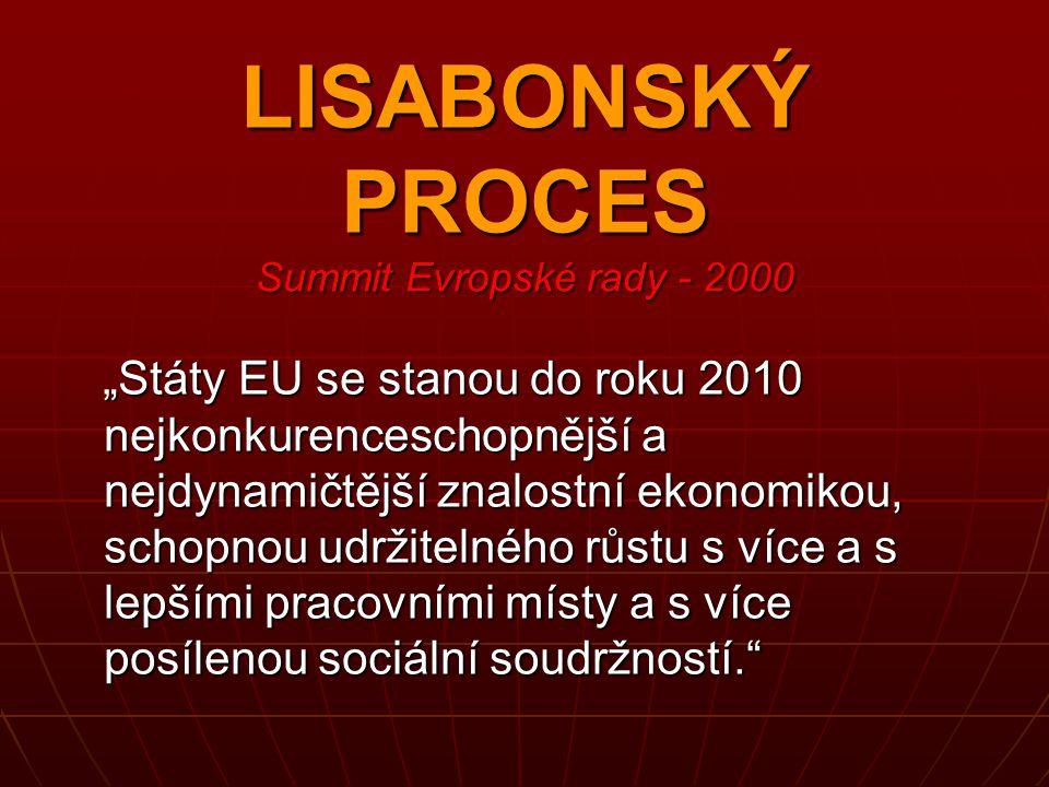 """LISABONSKÝ PROCES Summit Evropské rady - 2000 """"Státy EU se stanou do roku 2010 nejkonkurenceschopnější a nejdynamičtější znalostní ekonomikou, schopno"""
