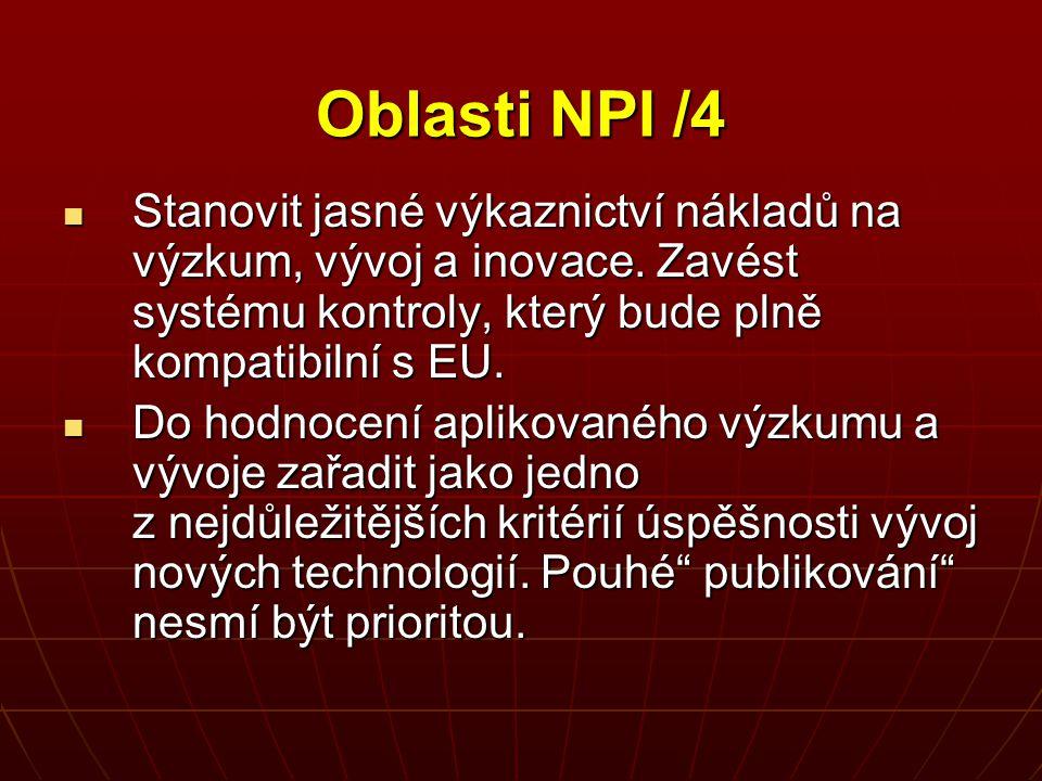 Oblasti NPI /4 Stanovit jasné výkaznictví nákladů na výzkum, vývoj a inovace. Zavést systému kontroly, který bude plně kompatibilní s EU. Stanovit jas