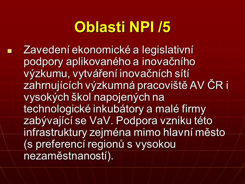 Oblasti NPI /5 Zavedení ekonomické a legislativní podpory aplikovaného a inovačního výzkumu, vytváření inovačních sítí zahrnujících výzkumná pracovišt