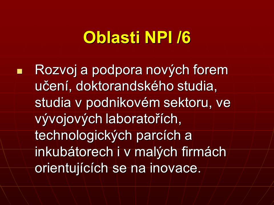 Oblasti NPI /6 Rozvoj a podpora nových forem učení, doktorandského studia, studia v podnikovém sektoru, ve vývojových laboratořích, technologických pa