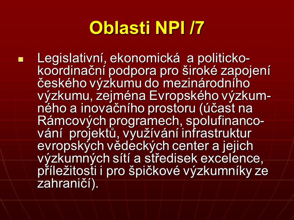 Oblasti NPI /7 Legislativní, ekonomická a politicko- koordinační podpora pro široké zapojení českého výzkumu do mezinárodního výzkumu, zejména Evropsk