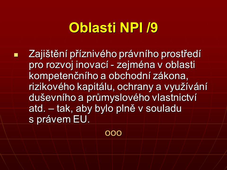 Oblasti NPI /9 Zajištění příznivého právního prostředí pro rozvoj inovací - zejména v oblasti kompetenčního a obchodní zákona, rizikového kapitálu, oc