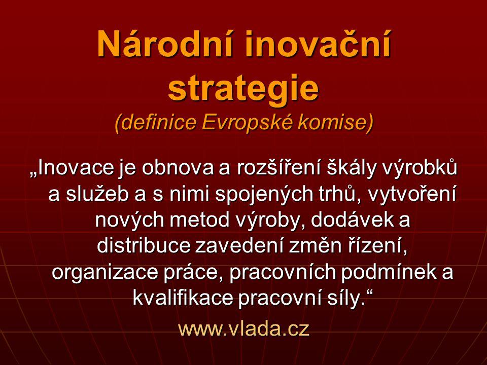 """Národní inovační strategie (definice Evropské komise) """" Inovace je obnova a rozšíření škály výrobků a služeb a s nimi spojených trhů, vytvoření nových"""