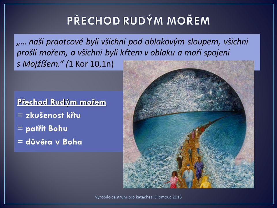 """Přechod Rudým mořem = zkušenost křtu = patřit Bohu = důvěra v Boha """"… naši praotcové byli všichni pod oblakovým sloupem, všichni prošli mořem, a všichni byli křtem v oblaku a moři spojeni s Mojžíšem. (1 Kor 10,1n) Vyrobilo centrum pro katechezi Olomouc 2013"""