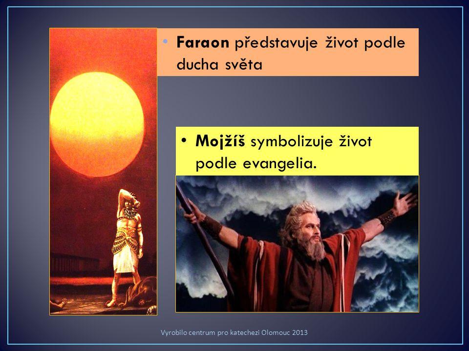Faraon představuje život podle ducha světa Mojžíš symbolizuje život podle evangelia.
