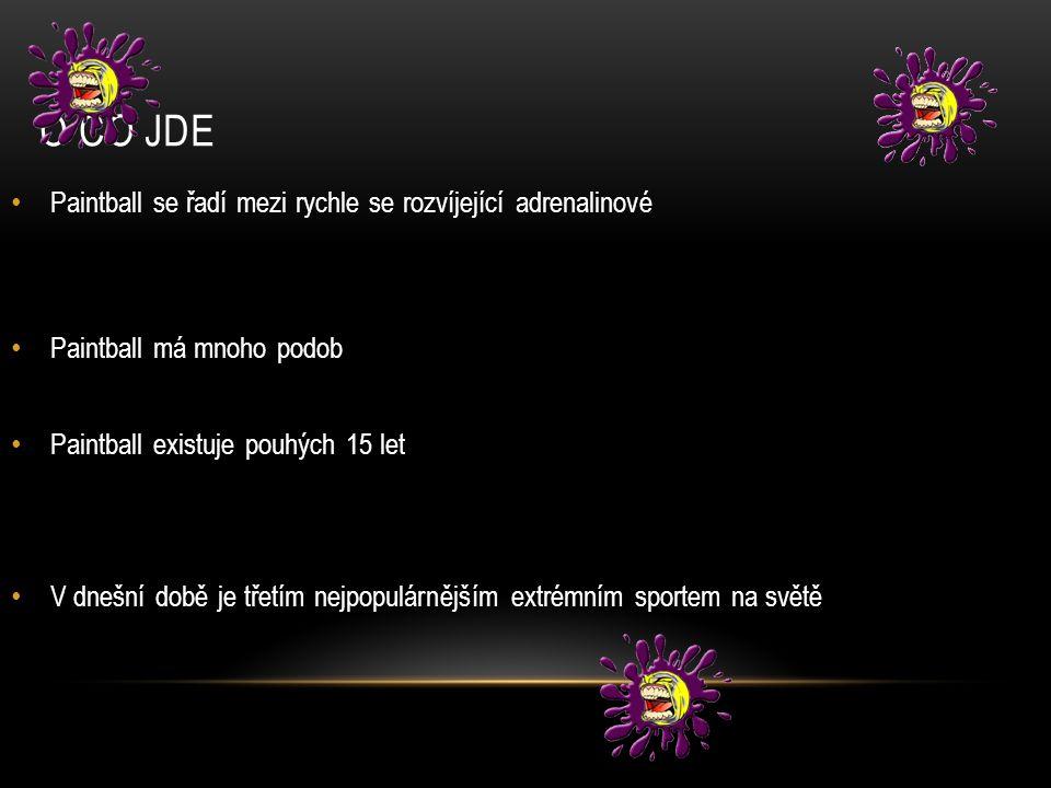 O CO JDE Paintball se řadí mezi rychle se rozvíjející adrenalinové Paintball má mnoho podob Paintball existuje pouhých 15 let V dnešní době je třetím nejpopulárnějším extrémním sportem na světě