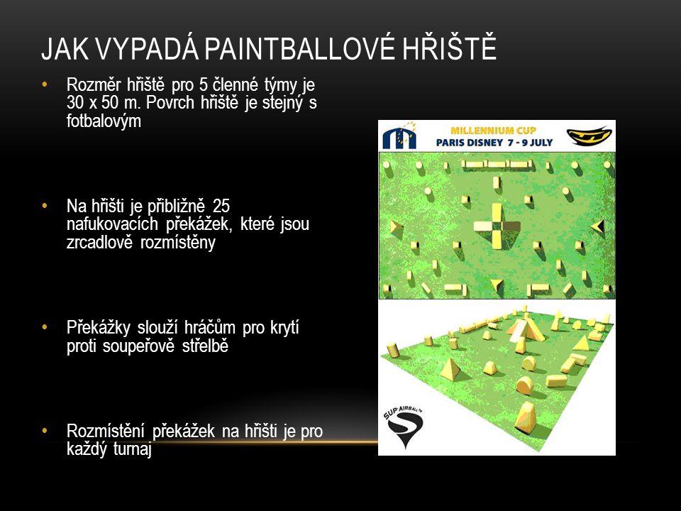 JAK VYPADÁ PAINTBALLOVÉ HŘIŠTĚ Rozměr hřiště pro 5 členné týmy je 30 x 50 m.