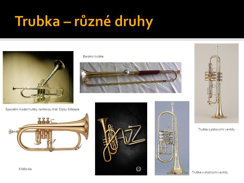 Trubka s otočnými ventily Křídlovka Barokní trubka Trubka s pístovými ventily Speciální model trubky na kterou hrál Dizzy Gillespie