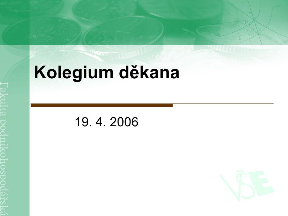 2 Osnova 1.Kontrola zápisu 2.Informace z kolegia rektoraInformace z kolegia rektora 3.Pedagogika a informatizacePedagogika a informatizace 4.Zahraniční vztahyZahraniční vztahy 5.VědaVěda 6.Hospodaření fakulty v roce 2005Hospodaření fakulty v roce 2005 7.TermínyTermíny 8.Různé