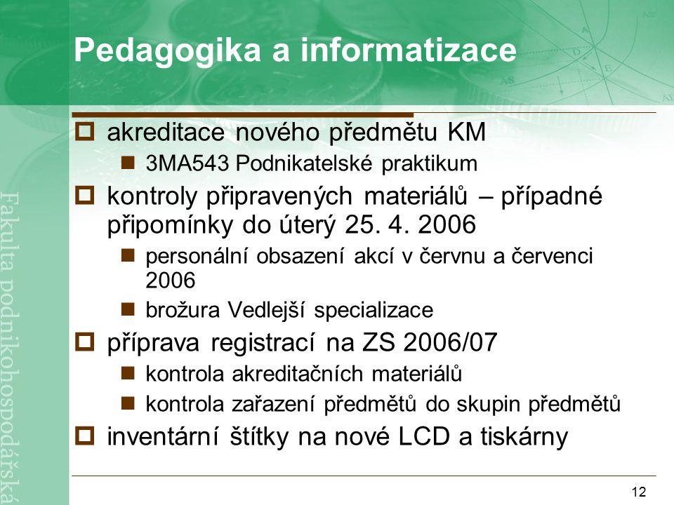 12 Pedagogika a informatizace  akreditace nového předmětu KM 3MA543 Podnikatelské praktikum  kontroly připravených materiálů – případné připomínky do úterý 25.