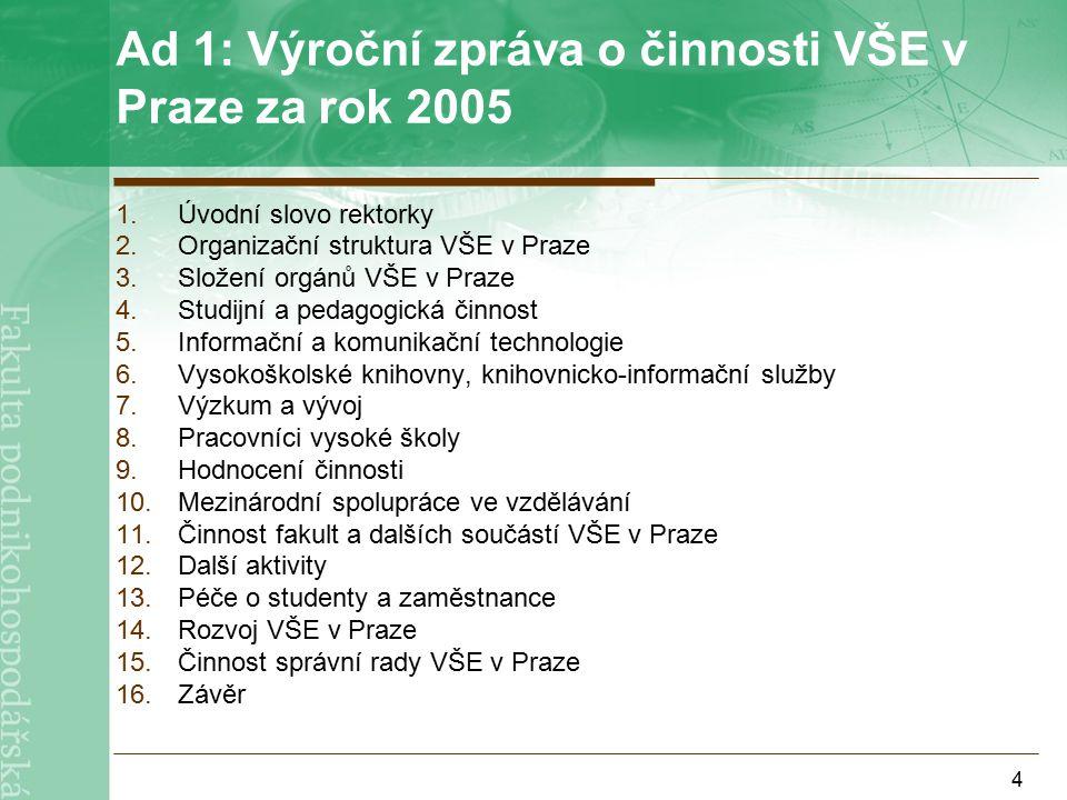 15 Věda  Vyhlášení výběrového řízení Fondu rozvoje vysokých škol pro rok 2007 termín: 31.5.2006 http://www.radavs.cz/dalsi.php?c=20 Podrobné informace na intranetu  1.3 Věda
