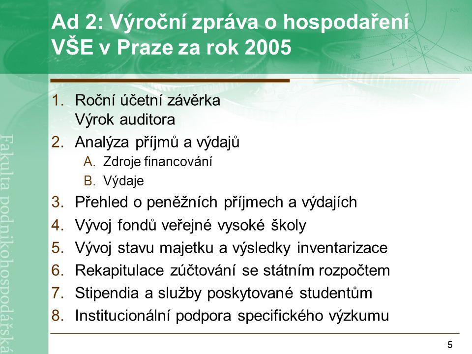 16 Hospodaření fakulty v roce 2005