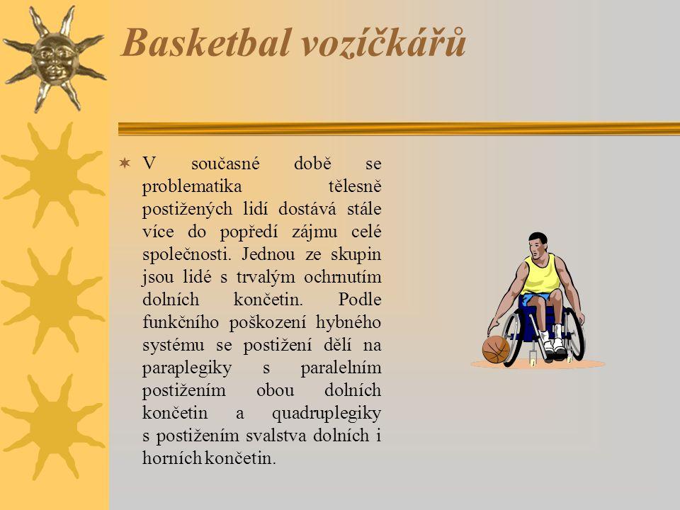 Basketbal vozíčkářů  V současné době se problematika tělesně postižených lidí dostává stále více do popředí zájmu celé společnosti. Jednou ze skupin