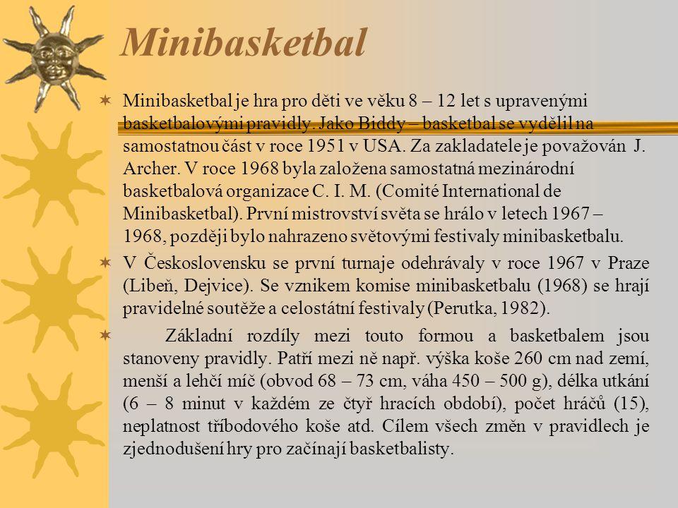 Minibasketbal  Minibasketbal je hra pro děti ve věku 8 – 12 let s upravenými basketbalovými pravidly. Jako Biddy – basketbal se vydělil na samostatno