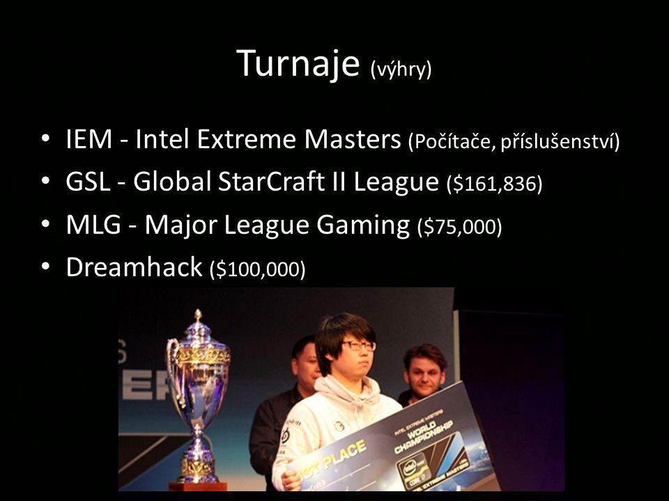 Turnaje (výhry) IEM - Intel Extreme Masters (Počítače, příslušenství) GSL - Global StarCraft II League ($161,836) MLG - Major League Gaming ($75,000) Dreamhack ($100,000)