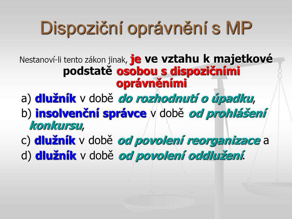 Dispoziční oprávnění s MP Nestanoví-li tento zákon jinak, je ve vztahu k majetkové podstatě osobou s dispozičními oprávněními a) dlužník v době do roz