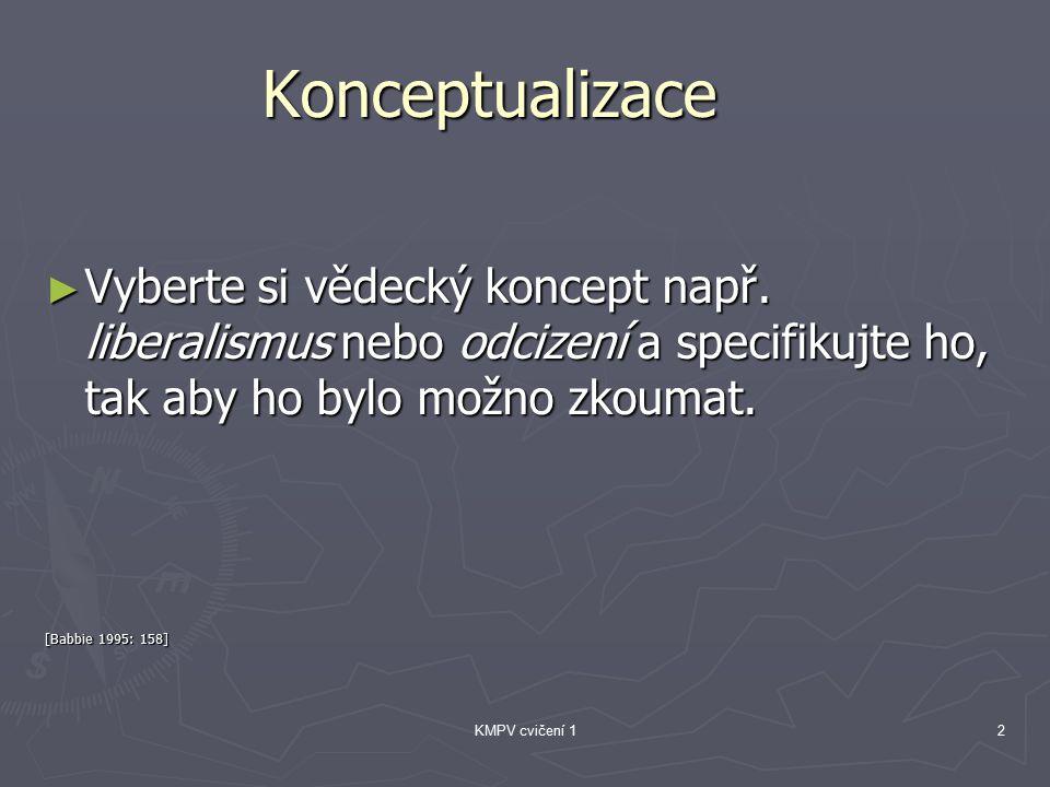 KMPV cvičení 12 Konceptualizace ► Vyberte si vědecký koncept např.