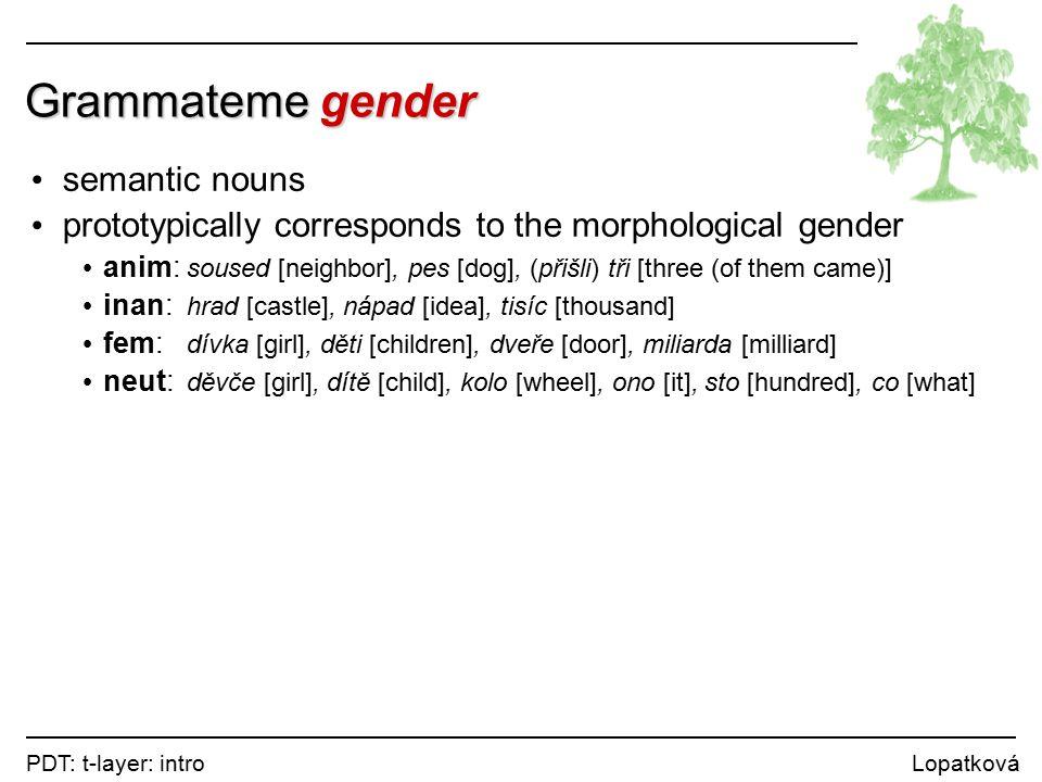 PDT: t-layer: intro Lopatková Grammateme gender semantic nouns prototypically corresponds to the morphological gender anim: soused [neighbor], pes [dog], (přišli) tři [three (of them came)] inan: hrad [castle], nápad [idea], tisíc [thousand] fem: dívka [girl], děti [children], dveře [door], miliarda [milliard] neut: děvče [girl], dítě [child], kolo [wheel], ono [it], sto [hundred], co [what]