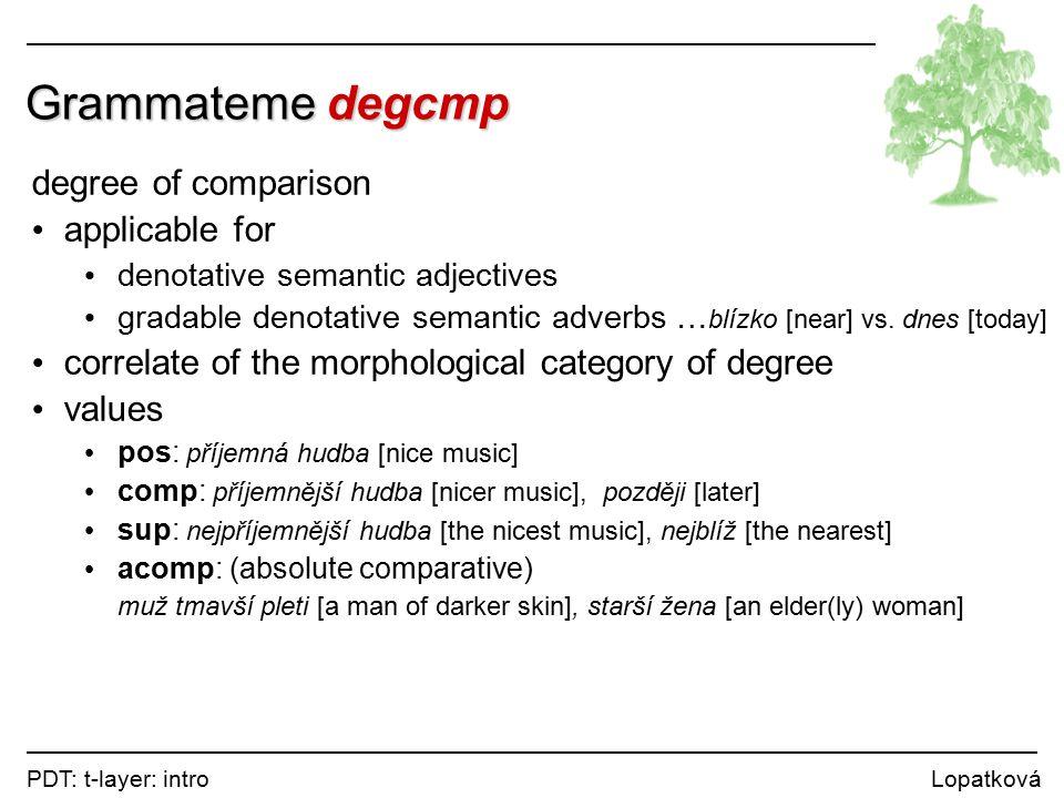 PDT: t-layer: intro Lopatková Grammateme degcmp degree of comparison applicable for denotative semantic adjectives gradable denotative semantic adverbs … blízko [near] vs.