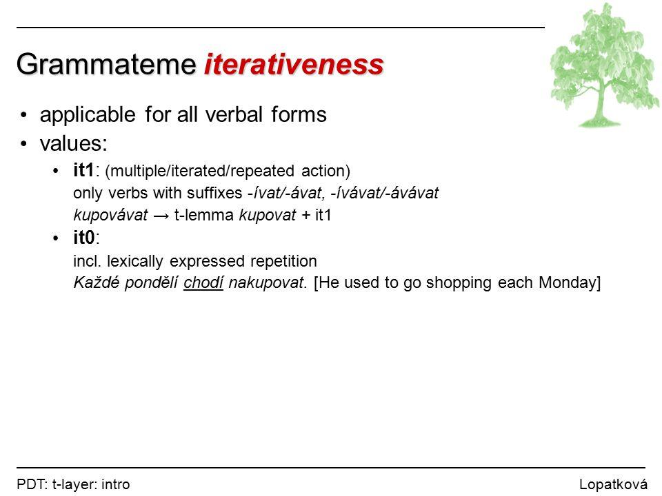 PDT: t-layer: intro Lopatková Grammateme iterativeness applicable for all verbal forms values: it1: (multiple/iterated/repeated action) only verbs with suffixes -ívat/-ávat, -ívávat/-ávávat kupovávat → t-lemma kupovat + it1 it0: incl.