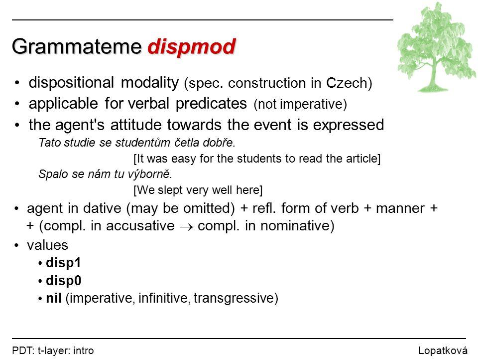 PDT: t-layer: intro Lopatková Grammateme dispmod dispositional modality (spec.