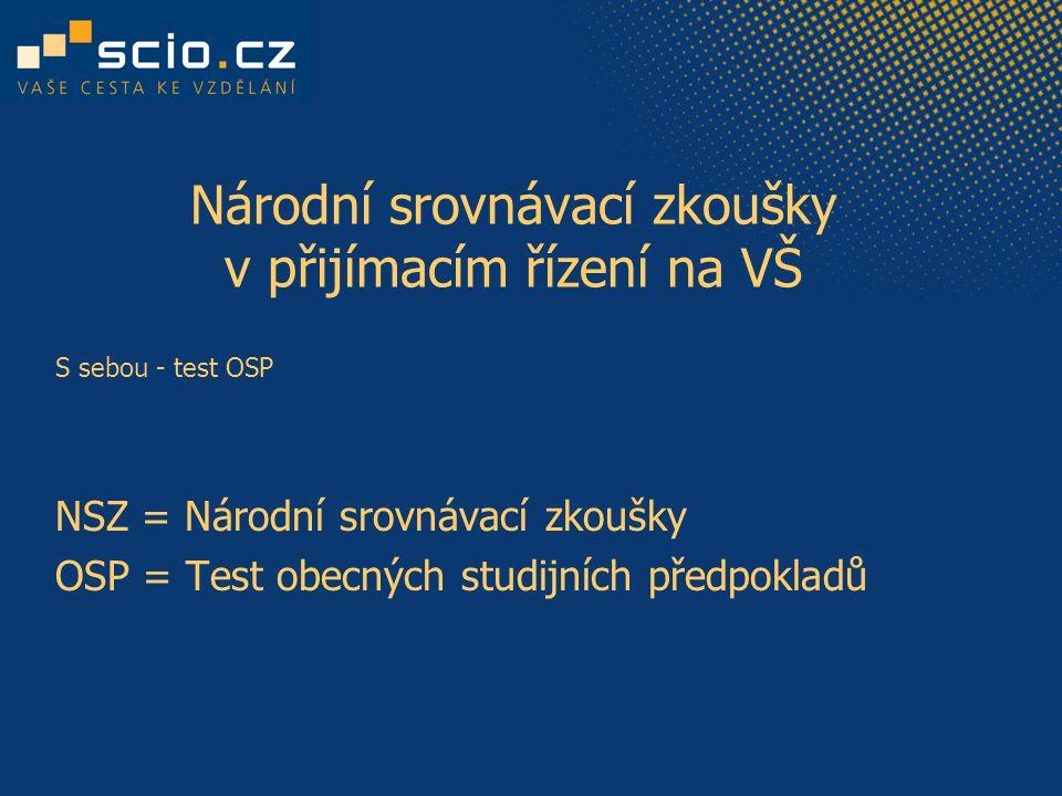 Národní srovnávací zkoušky v přijímacím řízení na VŠ S sebou - test OSP NSZ = Národní srovnávací zkoušky OSP = Test obecných studijních předpokladů
