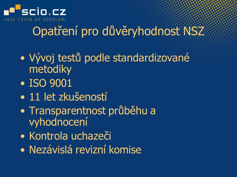 Opatření pro důvěryhodnost NSZ Vývoj testů podle standardizované metodiky ISO 9001 11 let zkušeností Transparentnost průběhu a vyhodnocení Kontrola uchazeči Nezávislá revizní komise