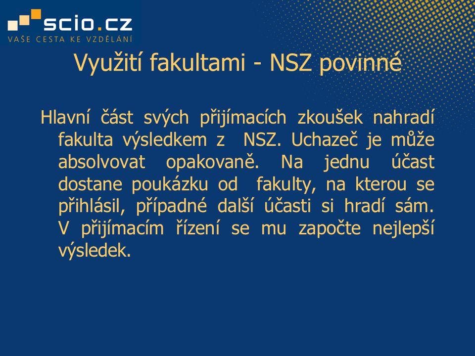 Využití fakultami - NSZ povinné Hlavní část svých přijímacích zkoušek nahradí fakulta výsledkem z NSZ.