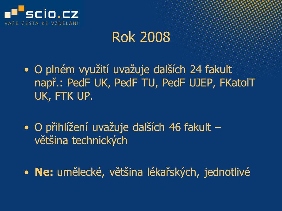 Rok 2008 O plném využití uvažuje dalších 24 fakult např.: PedF UK, PedF TU, PedF UJEP, FKatolT UK, FTK UP.
