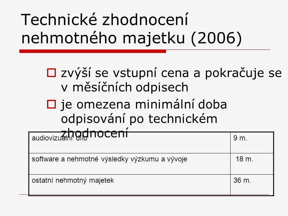 Technické zhodnocení nehmotného majetku (2006)  zvýší se vstupní cena a pokračuje se v měsíčních odpisech  je omezena minimální doba odpisování po t