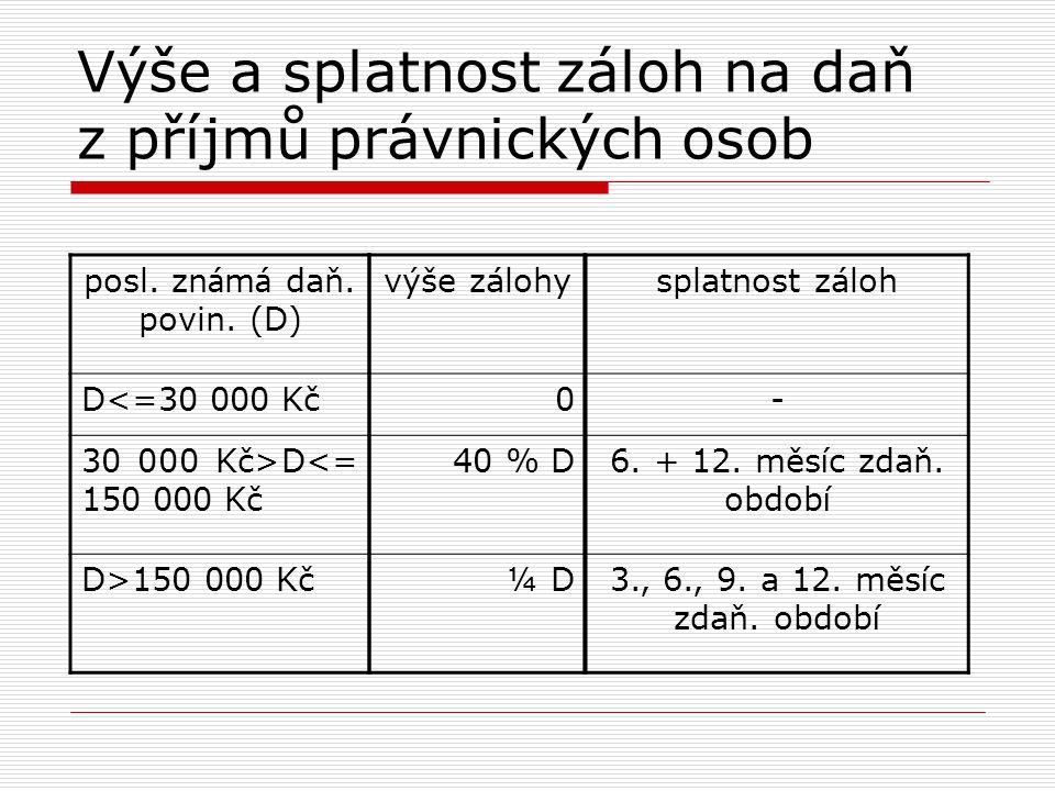 Výše a splatnost záloh na daň z příjmů právnických osob posl. zn á m á daň. povin. (D) D<=30 000 Kč 30 000 Kč>D<= 150 000 Kč D>150 000 Kč výše zálohy