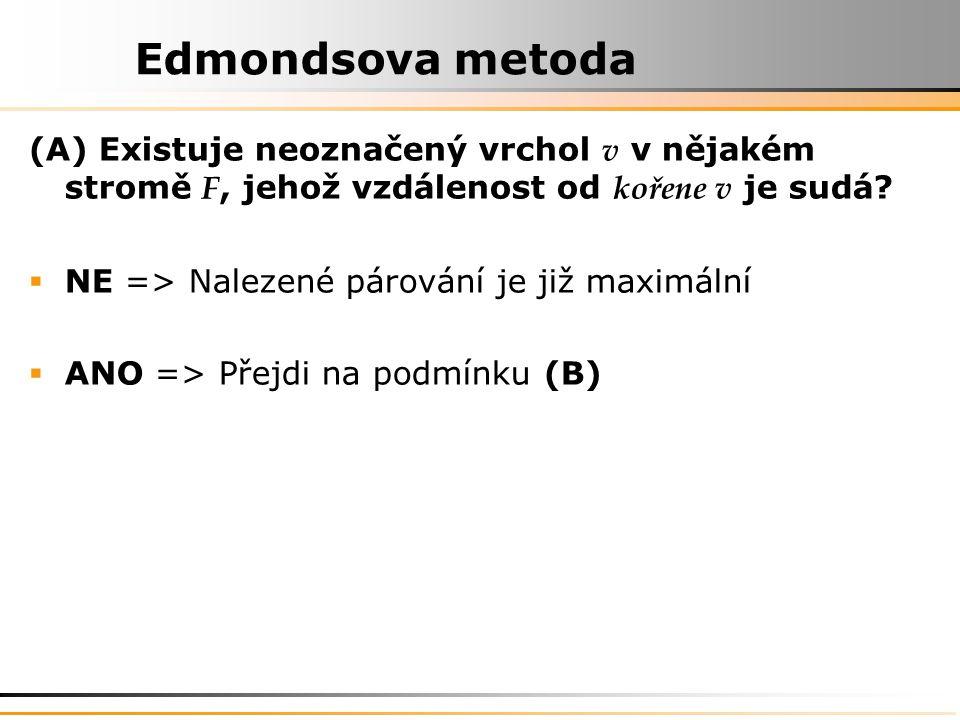 Edmondsova metoda (A) Existuje neoznačený vrchol v v nějakém stromě F, jehož vzdálenost od kořene v je sudá.