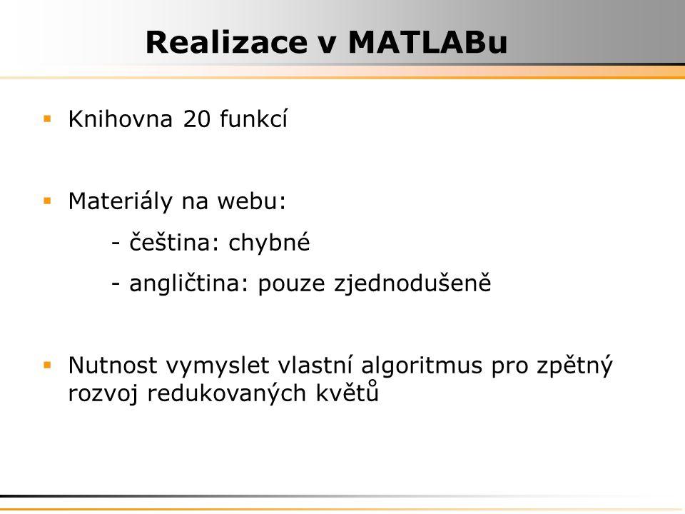  Knihovna 20 funkcí  Materiály na webu: - čeština: chybné - angličtina: pouze zjednodušeně  Nutnost vymyslet vlastní algoritmus pro zpětný rozvoj redukovaných květů
