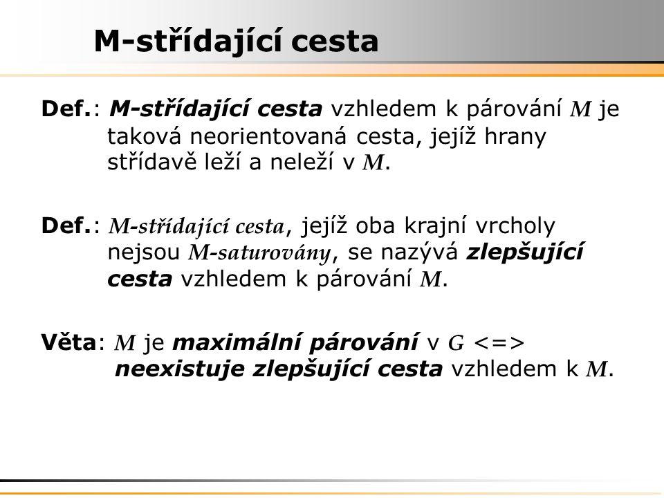 M-střídající cesta Def.: M-střídající cesta vzhledem k párování M je taková neorientovaná cesta, jejíž hrany střídavě leží a neleží v M.