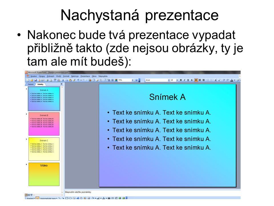Nachystaná prezentace Nakonec bude tvá prezentace vypadat přibližně takto (zde nejsou obrázky, ty je tam ale mít budeš):