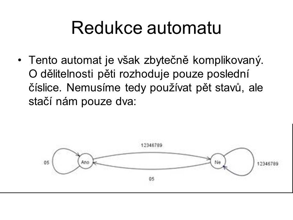 Redukce automatu Tento automat je však zbytečně komplikovaný.